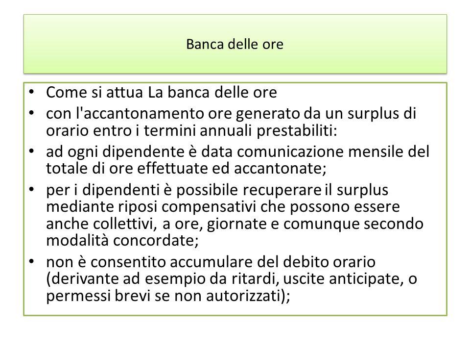 Banca delle ore Come si attua La banca delle ore con l'accantonamento ore generato da un surplus di orario entro i termini annuali prestabiliti: ad og