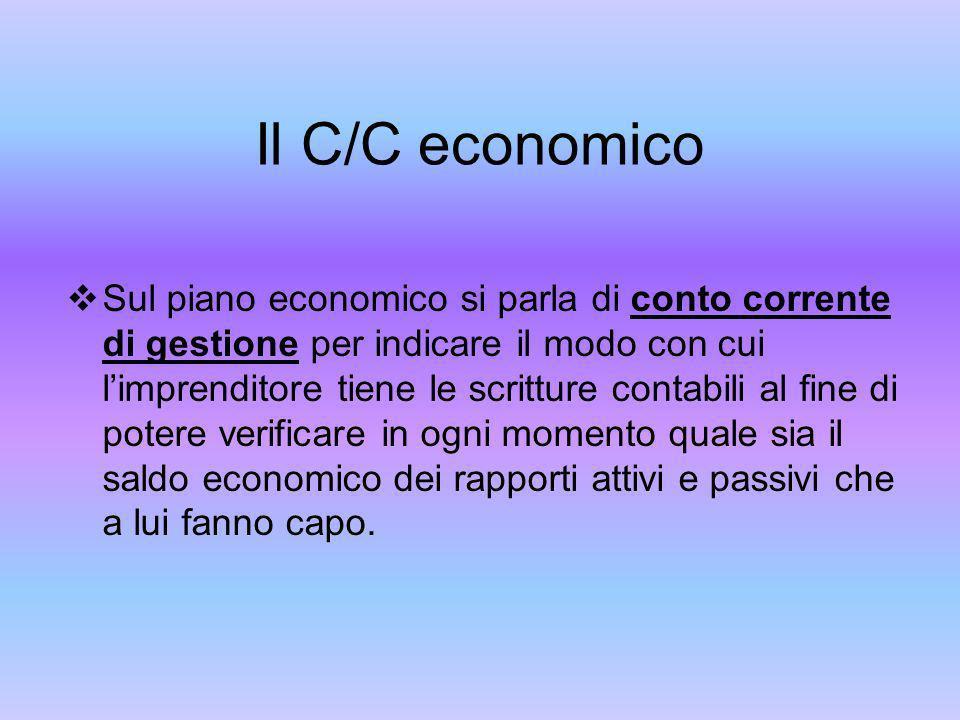 Il C/C economico Sul piano economico si parla di conto corrente di gestione per indicare il modo con cui limprenditore tiene le scritture contabili al