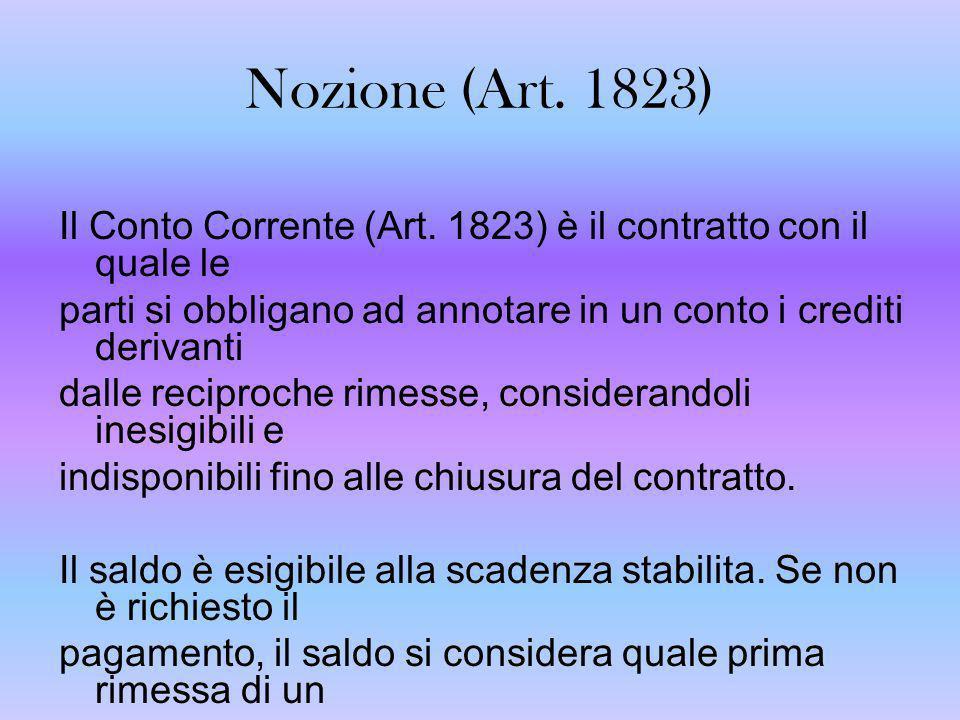 Fonti del C/C ordinario (Art.1823-1833) Normativo: dare vita a successivi rapporti giuridici.