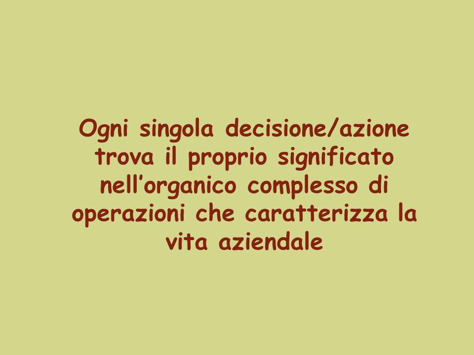 Ogni singola decisione/azione trova il proprio significato nellorganico complesso di operazioni che caratterizza la vita aziendale