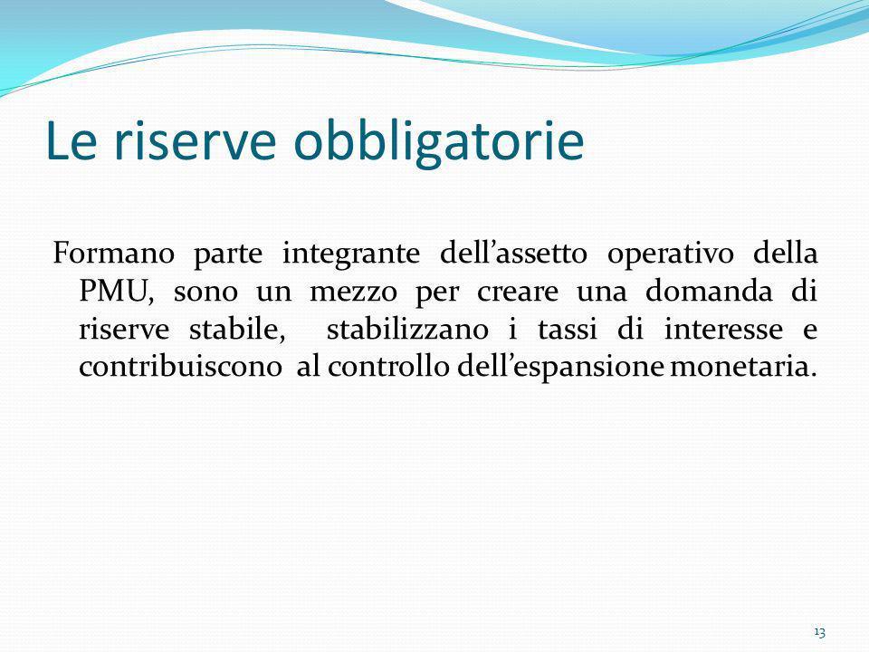 Le riserve obbligatorie Formano parte integrante dellassetto operativo della PMU, sono un mezzo per creare una domanda di riserve stabile, stabilizzan