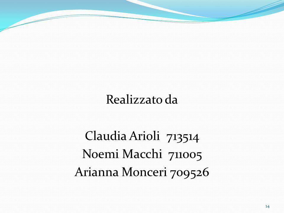 Realizzato da Claudia Arioli 713514 Noemi Macchi 711005 Arianna Monceri 709526 14