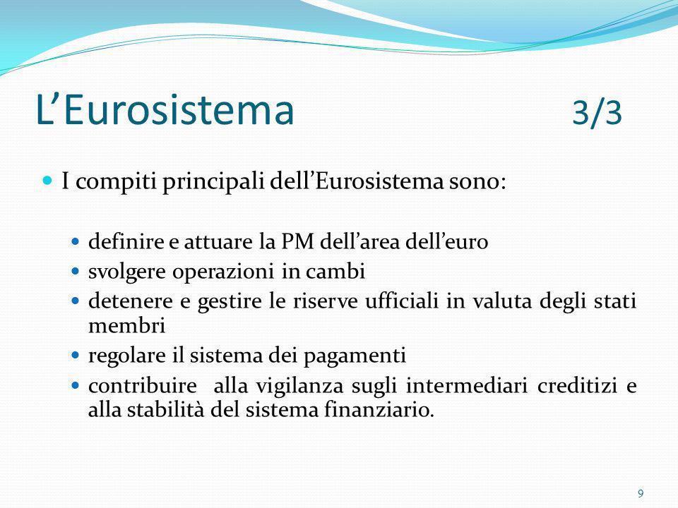Obiettivi della PMU In accordo con lart.105.1 del trattato di Maastricht : Stabilità dei prezzi nei paesi dellUE e sostenere le politiche economiche della Comunità Valutazione complessiva dei rischi sulla base di: analisi economica analisi monetaria 10