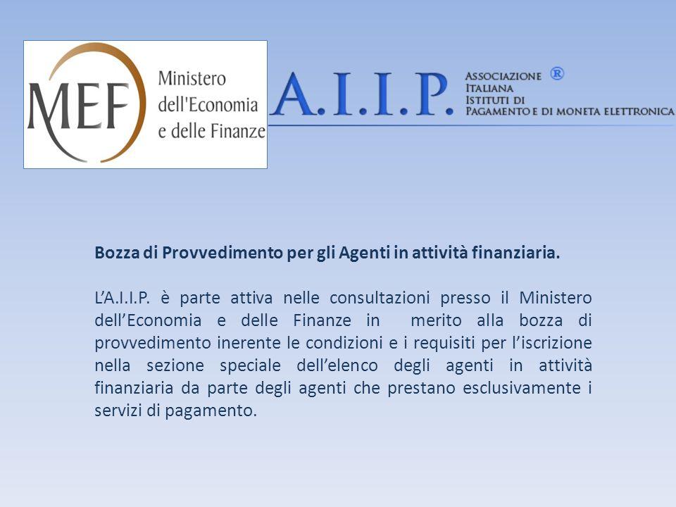Bozza di Provvedimento per gli Agenti in attività finanziaria.