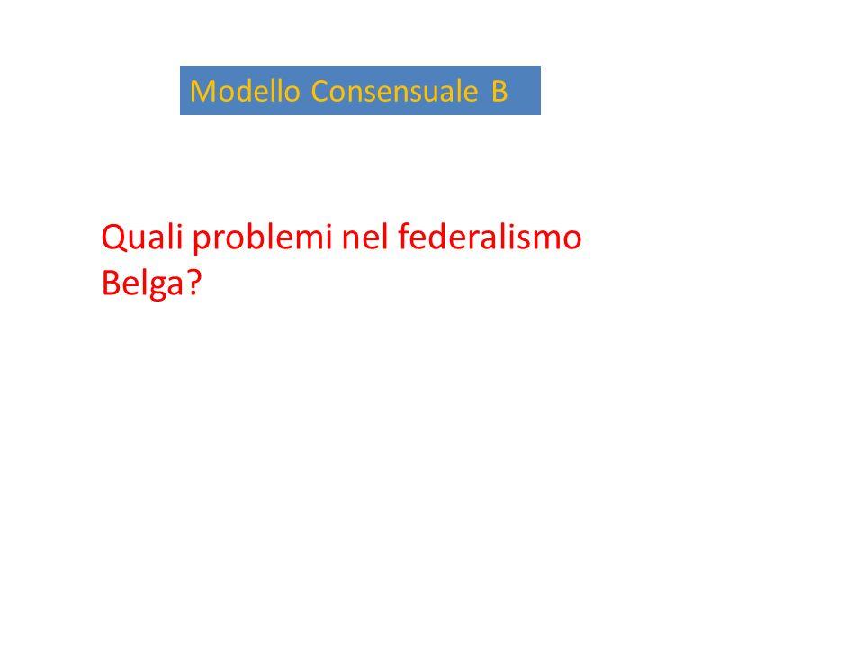 Modello Consensuale B Quali problemi nel federalismo Belga