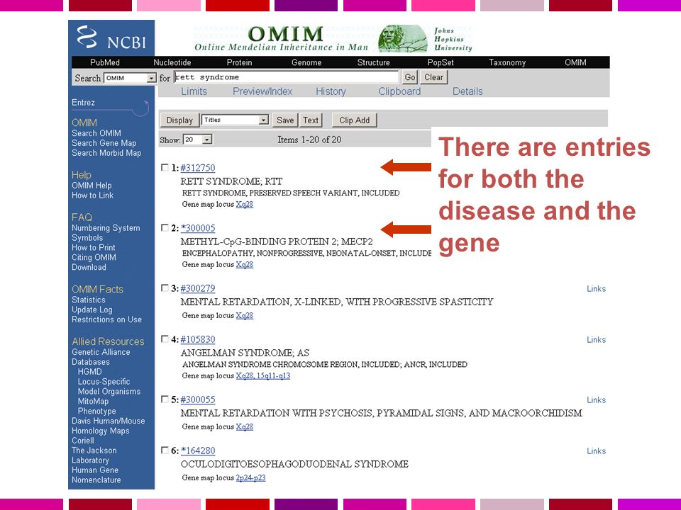 There are entries for both the disease and the gene
