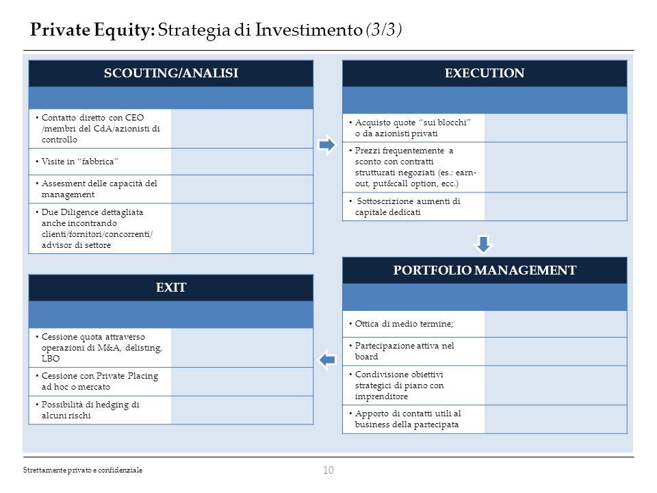 Strettamente privato e confidenziale Private Equity: Strategia di Investimento (3/3) 10 SCOUTING/ANALISI Contatto diretto con CEO /membri del CdA/azio