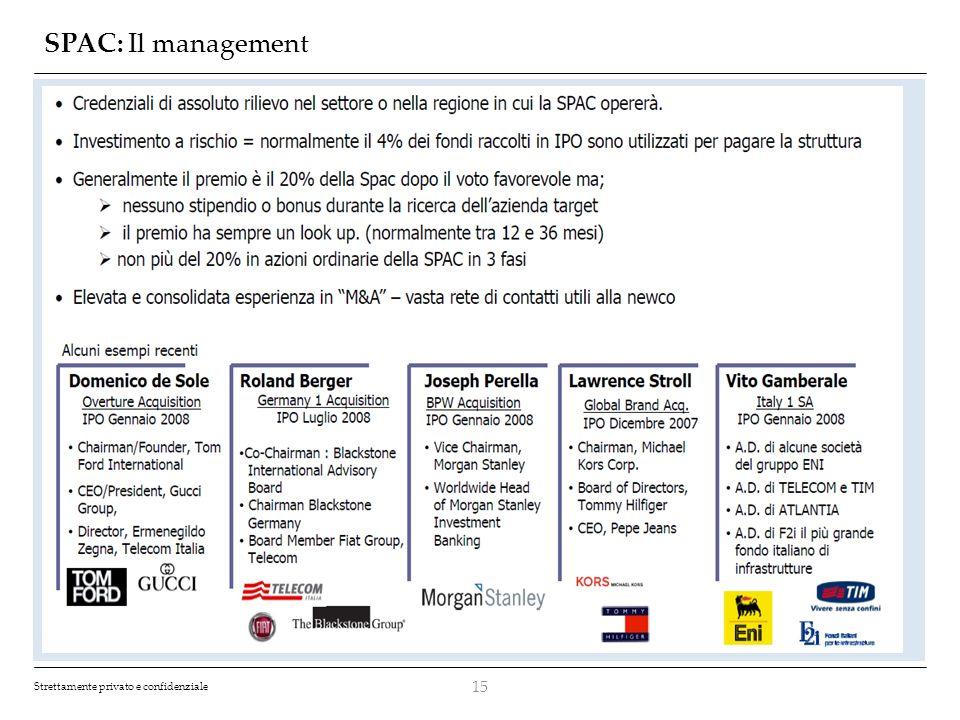 Strettamente privato e confidenziale SPAC: Il management 15