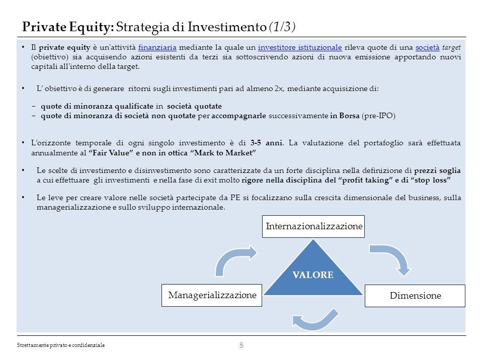 Strettamente privato e confidenziale Private Equity: Strategia di Investimento (1/3) 8 Il private equity è un'attività finanziaria mediante la quale u