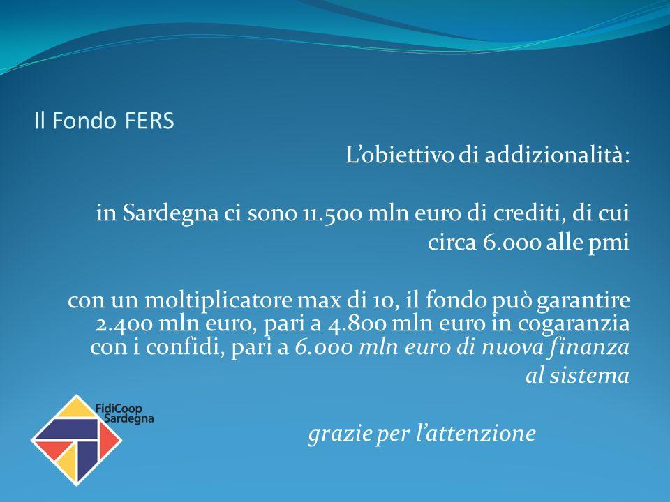 Il Fondo FERS Lobiettivo di addizionalità: in Sardegna ci sono 11.500 mln euro di crediti, di cui circa 6.000 alle pmi con un moltiplicatore max di 10, il fondo può garantire 2.400 mln euro, pari a 4.800 mln euro in cogaranzia con i confidi, pari a 6.000 mln euro di nuova finanza al sistema grazie per lattenzione