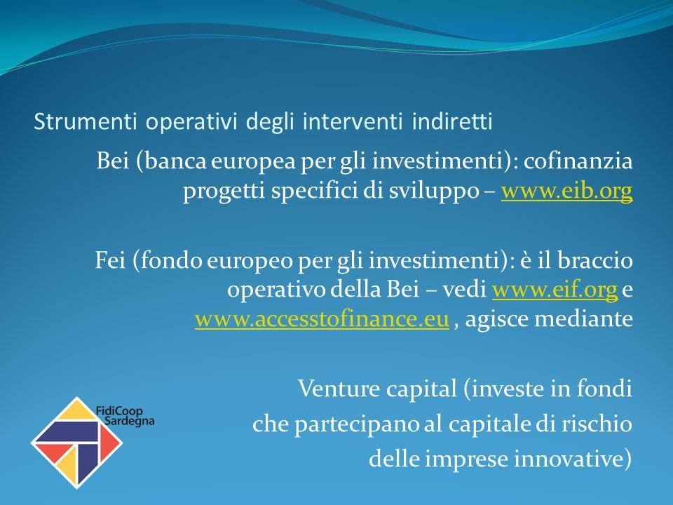Strumenti operativi degli interventi indiretti Bei (banca europea per gli investimenti): cofinanzia progetti specifici di sviluppo – www.eib.orgwww.eib.org Fei (fondo europeo per gli investimenti): è il braccio operativo della Bei – vedi www.eif.org e www.accesstofinance.eu, agisce mediantewww.eif.org www.accesstofinance.eu Venture capital (investe in fondi che partecipano al capitale di rischio delle imprese innovative)