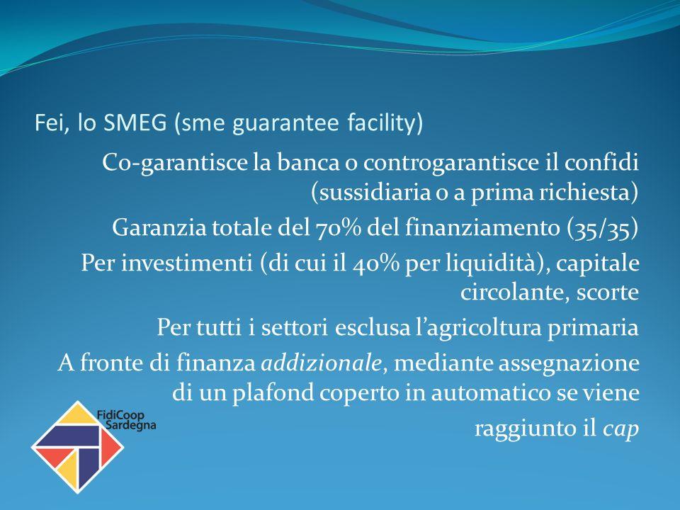 Fei, lo SMEG (sme guarantee facility) Co-garantisce la banca o controgarantisce il confidi (sussidiaria o a prima richiesta) Garanzia totale del 70% del finanziamento (35/35) Per investimenti (di cui il 40% per liquidità), capitale circolante, scorte Per tutti i settori esclusa lagricoltura primaria A fronte di finanza addizionale, mediante assegnazione di un plafond coperto in automatico se viene raggiunto il cap