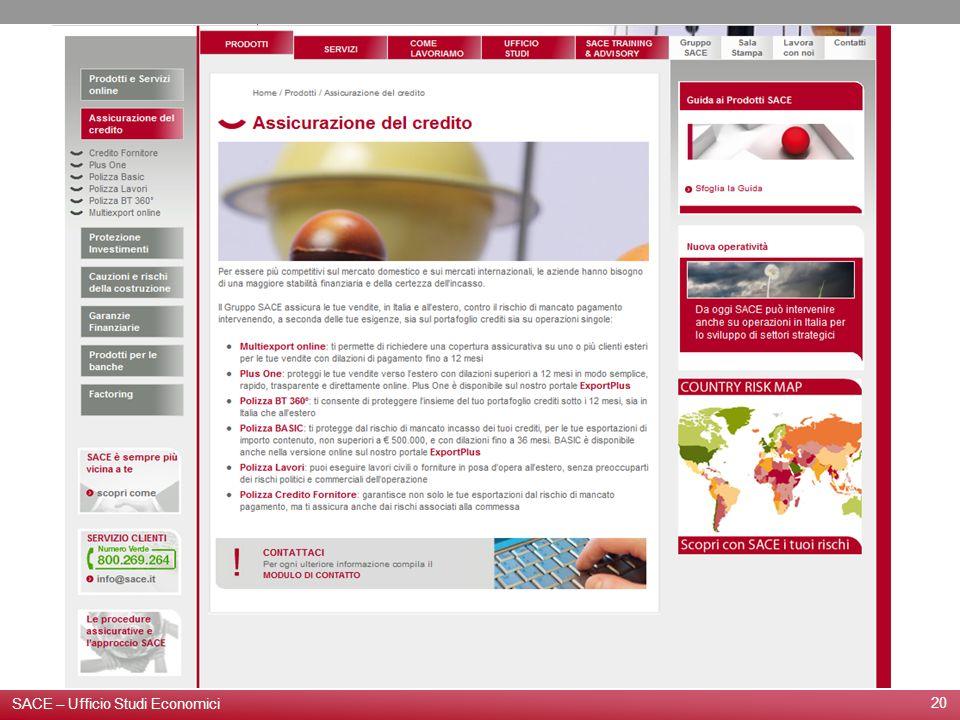 20 SACE – Ufficio Studi Economici