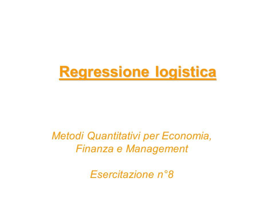 Regressione logistica - Modello Modello di regressione logistica si vuole modellare la relazione tra una variabile dipendente dicotomica (0-1) e un insieme di regressori che si ritiene influenzino la variabile dipendente la variabile dicotomica rappresenta presenza/assenza di un fenomeno oppure successo/fallimento lobiettivo è stimare lequazione dove π:= Pr(Y=1 l X) è la probabilità che il fenomeno si verifichi