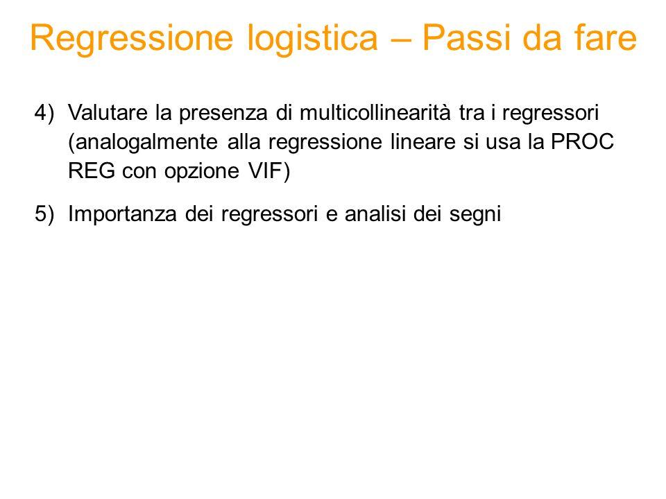 Regressione logistica – Passi da fare 4)Valutare la presenza di multicollinearità tra i regressori (analogalmente alla regressione lineare si usa la P