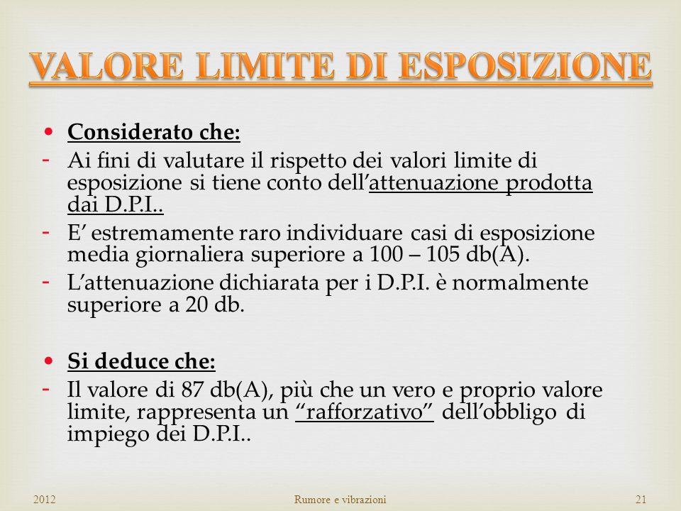 SUPERAMENTO DEL VALORE LIMITE DI ESPOSIZIONE L EX8h > 87 dB(A) – 140 dB(C) OBBLIGHI D.L.: AZIONI IMMEDIATE: RIDUZIONE DELLESPOSIZIONE INDIVIDUAZIONE C