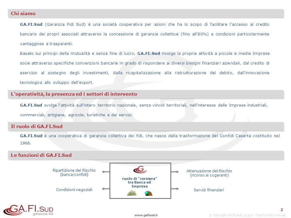 www.gafisud.it © Copyright GA.FI.Sud s.c.p.a - Tutti i diritti riservati 2 GA.FI.Sud (Garanzia Fidi Sud) è una società cooperativa per azioni che ha lo scopo di facilitare laccesso al credito bancario dei propri associati attraverso la concessione di garanzie collettive (fino all80%) a condizioni particolarmente vantaggiose e trasparenti.