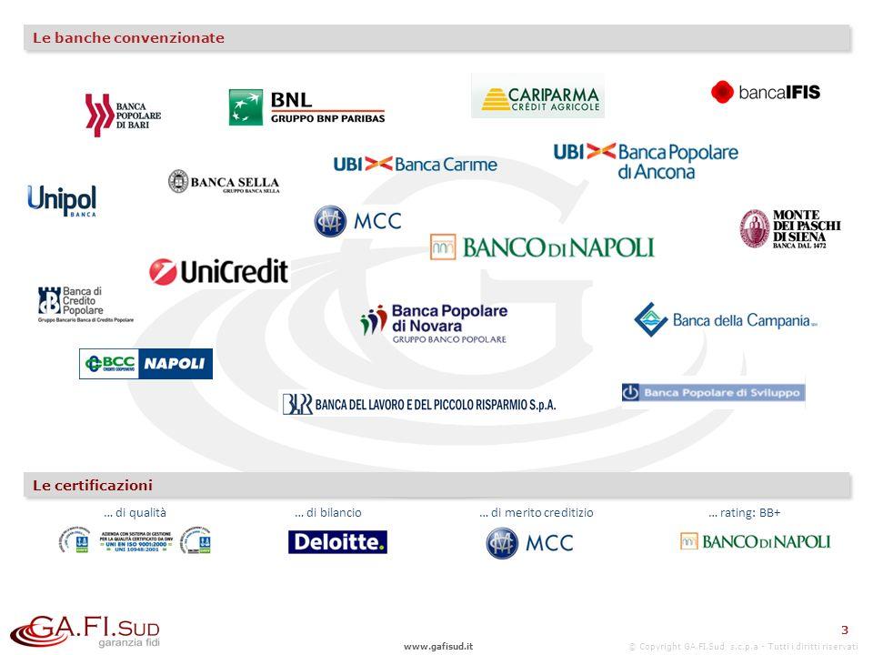 www.gafisud.it © Copyright GA.FI.Sud s.c.p.a - Tutti i diritti riservati Le banche convenzionate 3 Le certificazioni … di qualità… di bilancio… di merito creditizio… rating: BB+ 3
