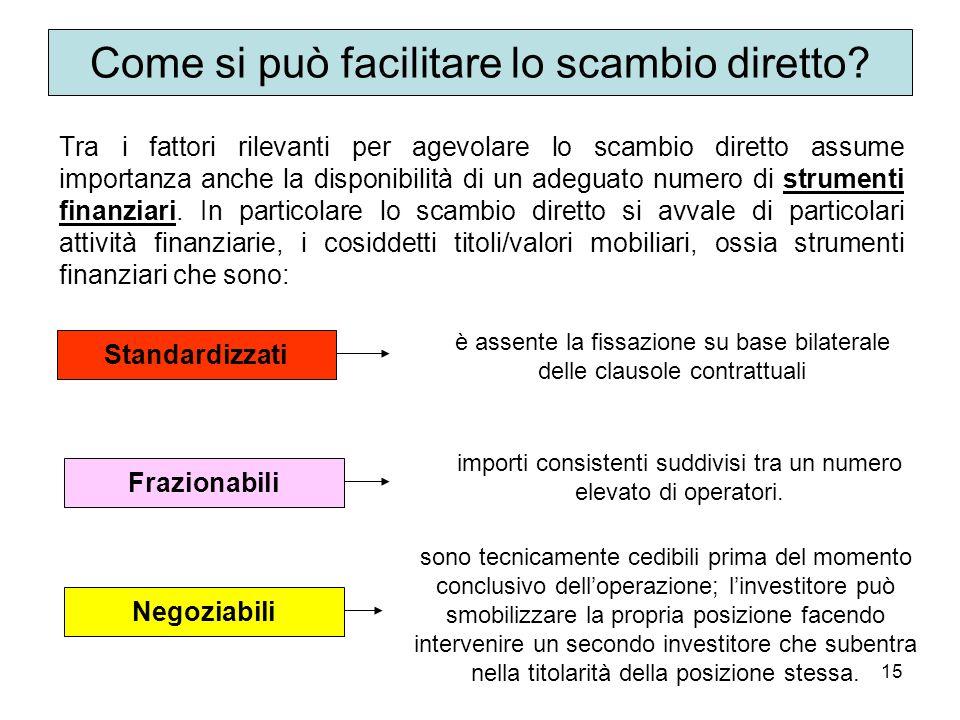 15 Tra i fattori rilevanti per agevolare lo scambio diretto assume importanza anche la disponibilità di un adeguato numero di strumenti finanziari.