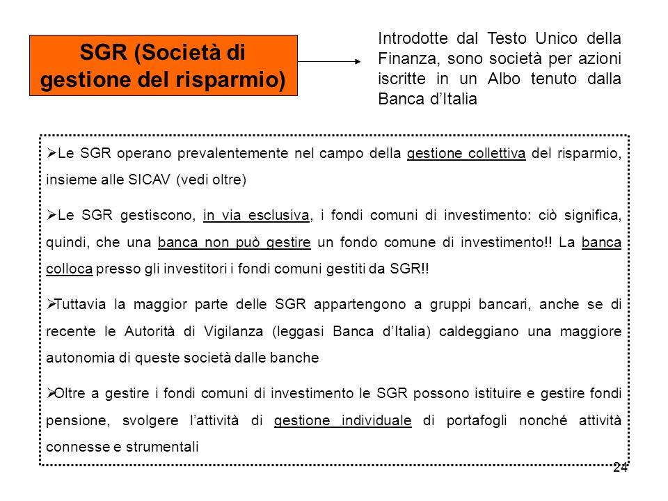 24 SGR (Società di gestione del risparmio) Introdotte dal Testo Unico della Finanza, sono società per azioni iscritte in un Albo tenuto dalla Banca dItalia Le SGR operano prevalentemente nel campo della gestione collettiva del risparmio, insieme alle SICAV (vedi oltre) Le SGR gestiscono, in via esclusiva, i fondi comuni di investimento: ciò significa, quindi, che una banca non può gestire un fondo comune di investimento!.