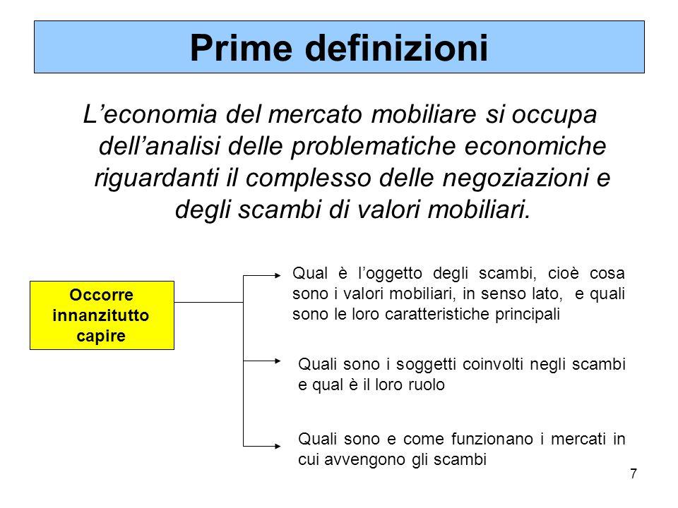 7 Prime definizioni Leconomia del mercato mobiliare si occupa dellanalisi delle problematiche economiche riguardanti il complesso delle negoziazioni e degli scambi di valori mobiliari.