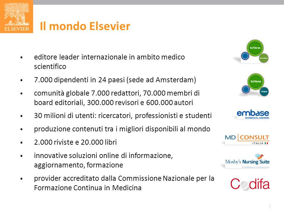 editore leader internazionale in ambito medico scientifico 7.000 dipendenti in 24 paesi (sede ad Amsterdam) comunità globale 7.000 redattori, 70.000 m
