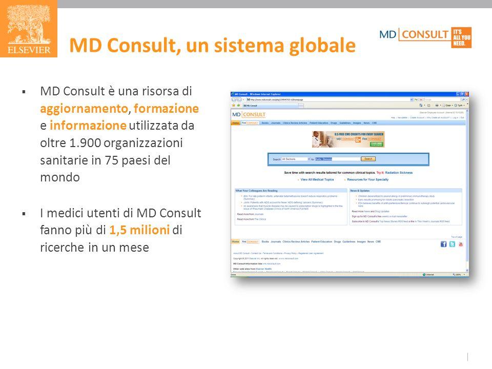 MD Consult, un sistema globale MD Consult è una risorsa di aggiornamento, formazione e informazione utilizzata da oltre 1.900 organizzazioni sanitarie in 75 paesi del mondo I medici utenti di MD Consult fanno più di 1,5 milioni di ricerche in un mese