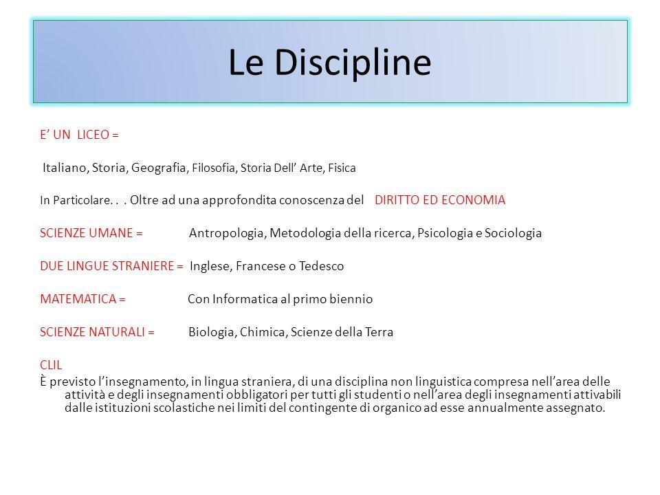 Le Discipline E UN LICEO = Italiano, Storia, Geografia, Filosofia, Storia Dell Arte, Fisica In Particolare...