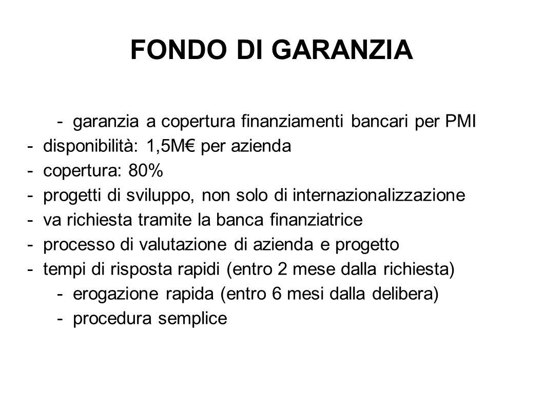 FONDO DI GARANZIA - garanzia a copertura finanziamenti bancari per PMI - disponibilità: 1,5M per azienda - copertura: 80% - progetti di sviluppo, non