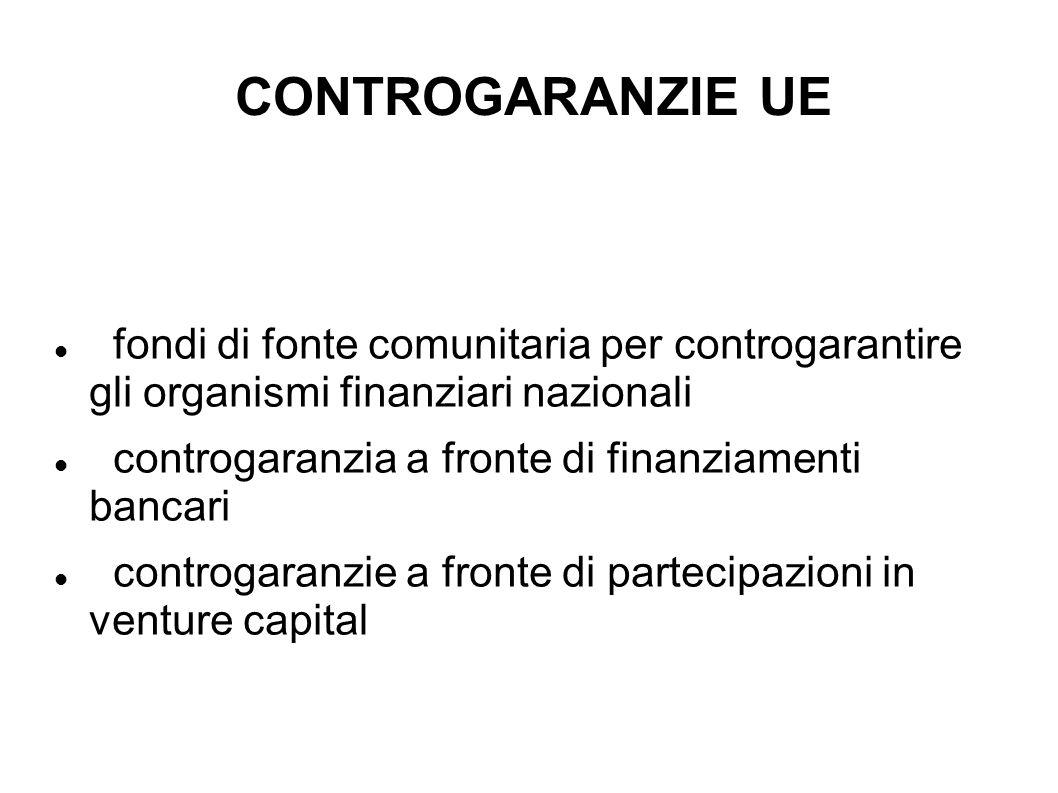 CONTROGARANZIE UE fondi di fonte comunitaria per controgarantire gli organismi finanziari nazionali controgaranzia a fronte di finanziamenti bancari c