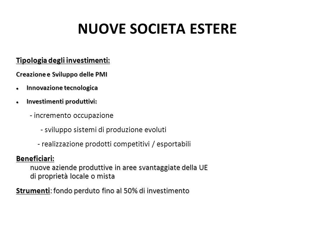 NUOVE SOCIETA ESTERE Tipologia degli investimenti: Creazione e Sviluppo delle PMI Innovazione tecnologica Innovazione tecnologica Investimenti produtt