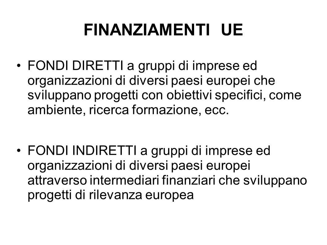FINANZIAMENTI UE FONDI DIRETTI a gruppi di imprese ed organizzazioni di diversi paesi europei che sviluppano progetti con obiettivi specifici, come am