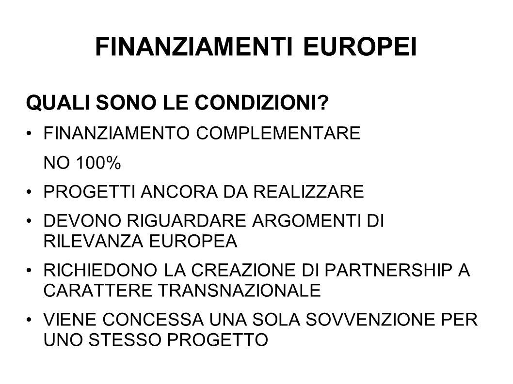 FINANZIAMENTI EUROPEI QUALI SONO LE CONDIZIONI? FINANZIAMENTO COMPLEMENTARE NO 100% PROGETTI ANCORA DA REALIZZARE DEVONO RIGUARDARE ARGOMENTI DI RILEV