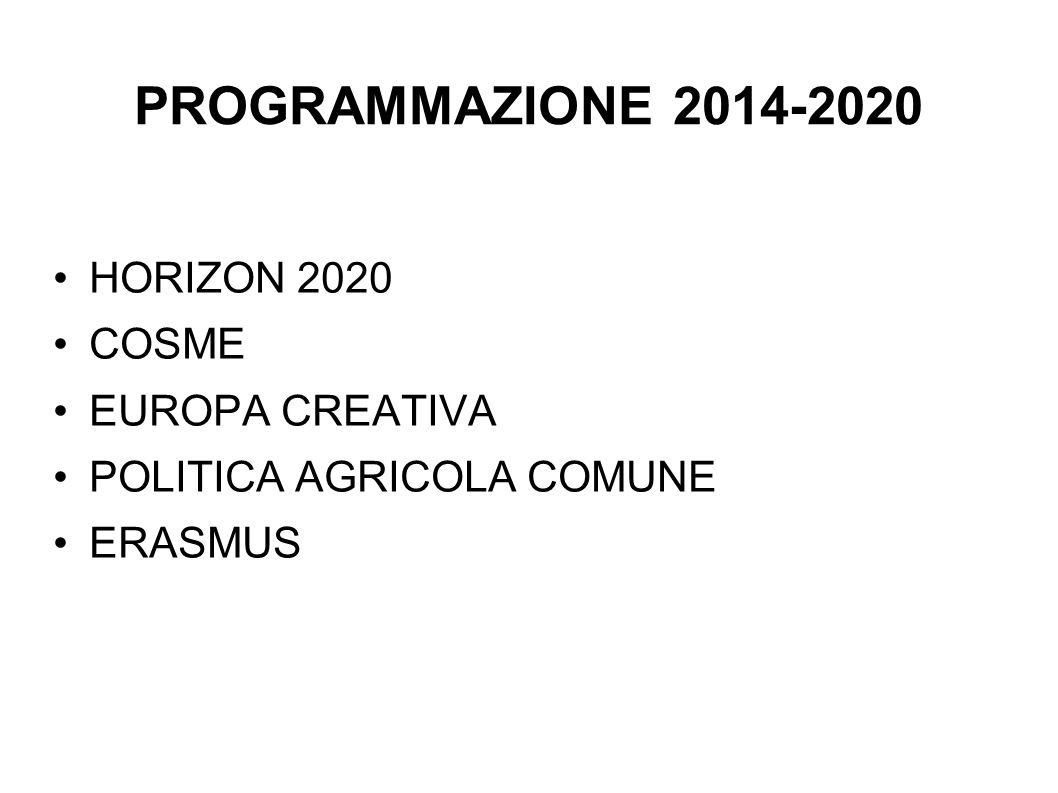 PROGRAMMAZIONE 2014-2020 HORIZON 2020 COSME EUROPA CREATIVA POLITICA AGRICOLA COMUNE ERASMUS
