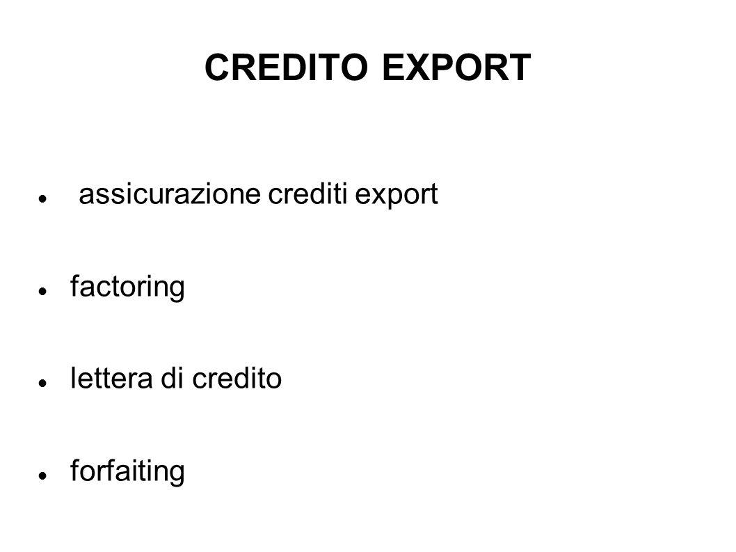 CREDITO EXPORT assicurazione crediti export factoring lettera di credito forfaiting