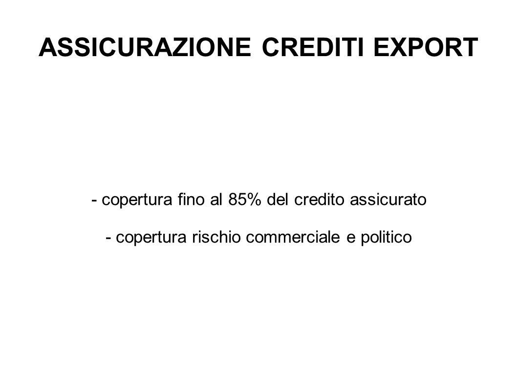 ASSICURAZIONE CREDITI EXPORT - copertura fino al 85% del credito assicurato - copertura rischio commerciale e politico
