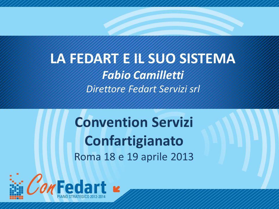 LA FEDART E IL SUO SISTEMA Fabio Camilletti Direttore Fedart Servizi srl Convention Servizi Confartigianato Roma 18 e 19 aprile 2013