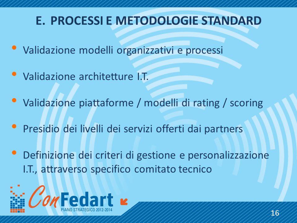 E.PROCESSI E METODOLOGIE STANDARD Validazione modelli organizzativi e processi Validazione architetture I.T. Validazione piattaforme / modelli di rati