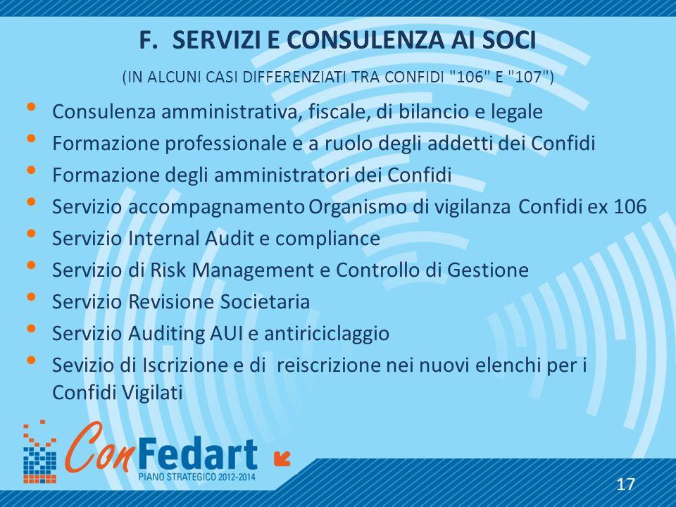 F.SERVIZI E CONSULENZA AI SOCI (IN ALCUNI CASI DIFFERENZIATI TRA CONFIDI