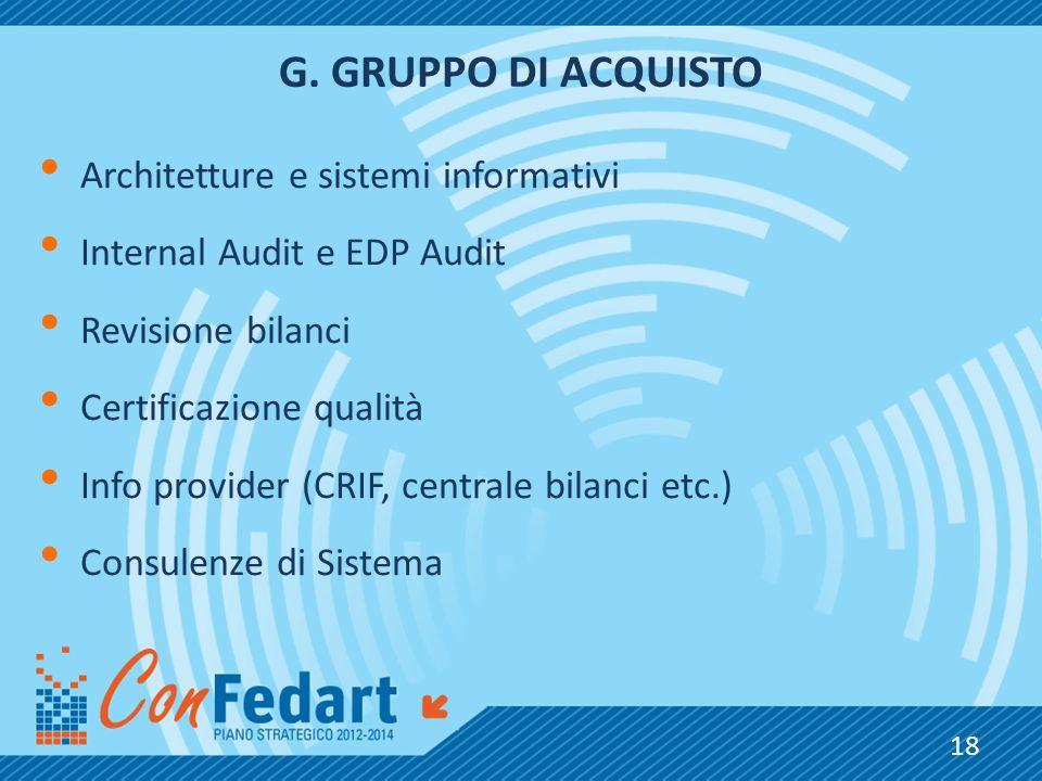 G.GRUPPO DI ACQUISTO Architetture e sistemi informativi Internal Audit e EDP Audit Revisione bilanci Certificazione qualità Info provider (CRIF, centr