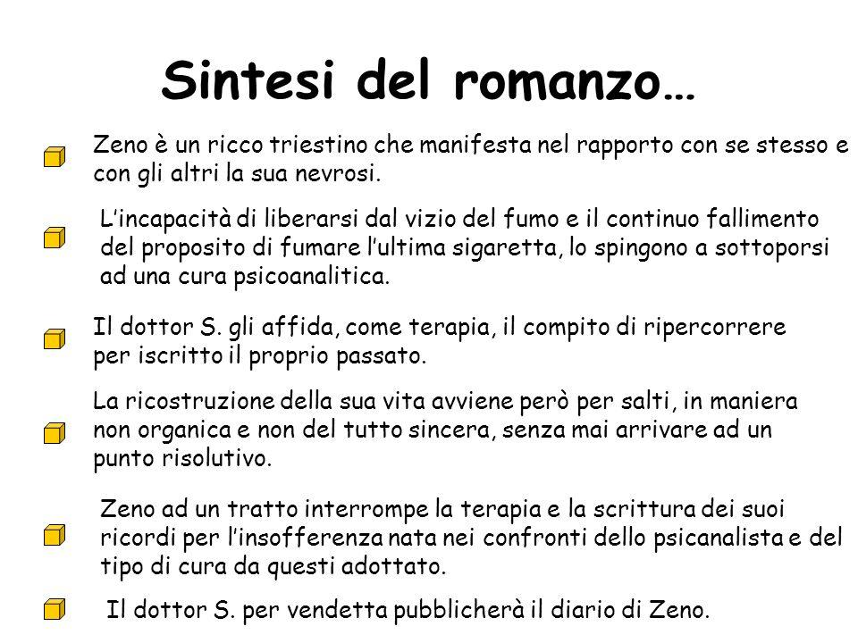 Sintesi del romanzo… Zeno è un ricco triestino che manifesta nel rapporto con se stesso e con gli altri la sua nevrosi. Lincapacità di liberarsi dal v