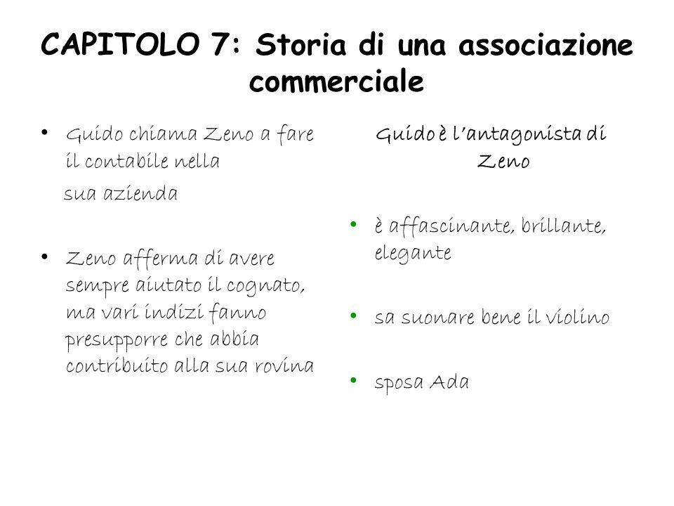 CAPITOLO 7: Storia di una associazione commerciale Guido chiama Zeno a fare il contabile nella sua azienda Zeno afferma di avere sempre aiutato il cog