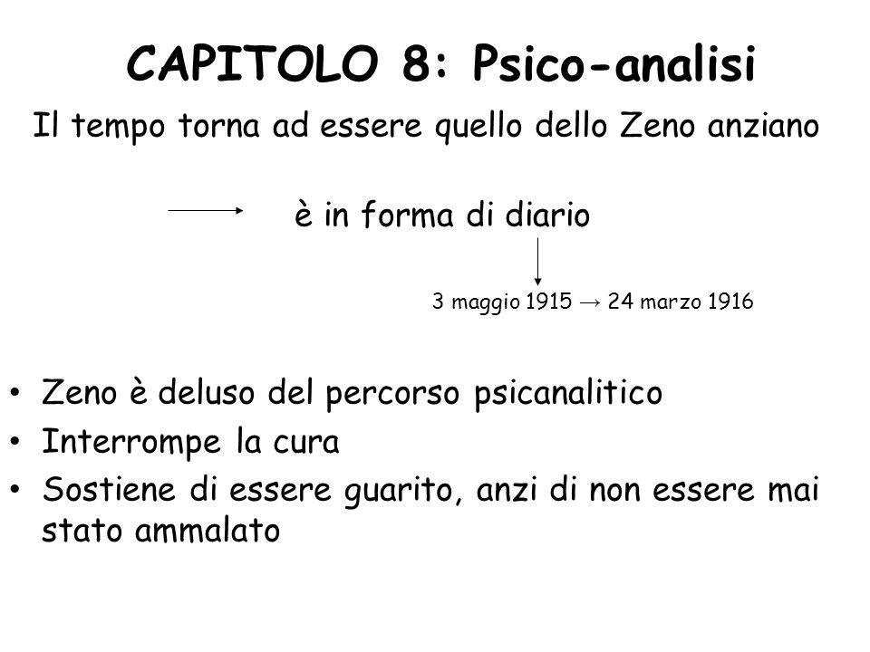 CAPITOLO 8: Psico-analisi Il tempo torna ad essere quello dello Zeno anziano è in forma di diario 3 maggio 1915 24 marzo 1916 Zeno è deluso del percor