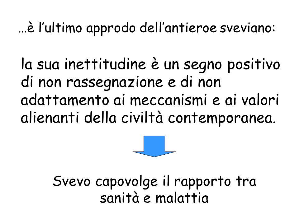 …è lultimo approdo dellantieroe sveviano: la sua inettitudine è un segno positivo di non rassegnazione e di non adattamento ai meccanismi e ai valori