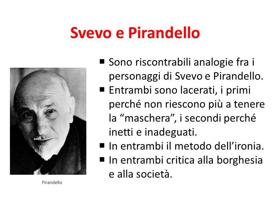 Svevo e Pirandello Sono riscontrabili analogie fra i personaggi di Svevo e Pirandello. Entrambi sono lacerati, i primi perché non riescono più a tener