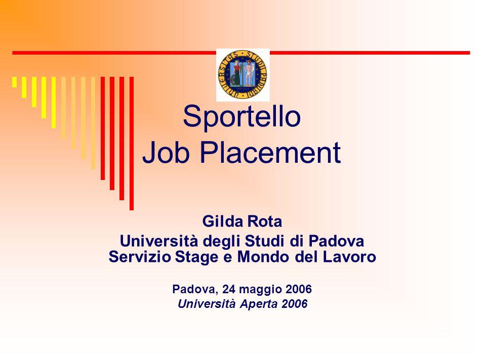 Sportello Job Placement Gilda Rota Università degli Studi di Padova Servizio Stage e Mondo del Lavoro Padova, 24 maggio 2006 Università Aperta 2006