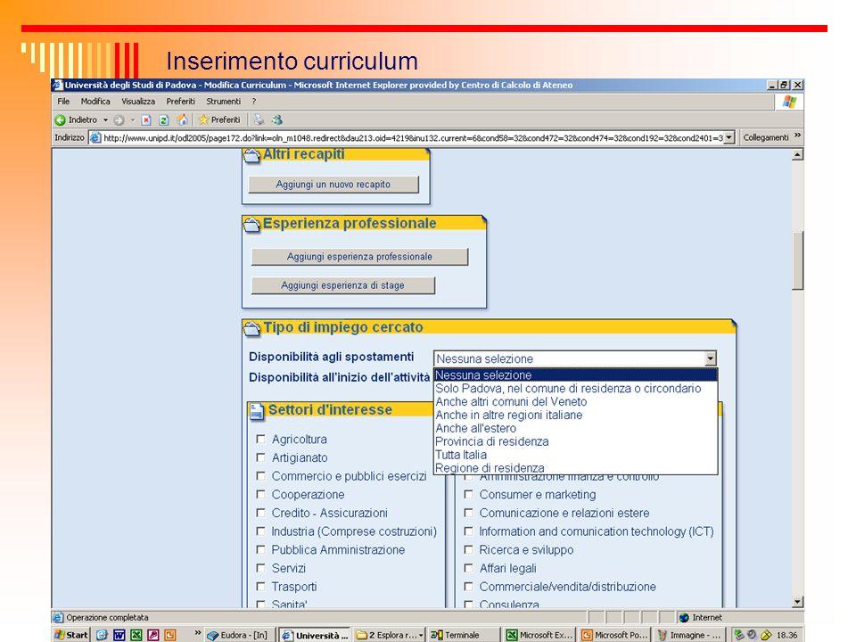 Monitoraggio candidature e offerte di lavoro Per ogni curriculum inserito dai laureati e per ogni offerta di lavoro inserita dalle aziende lufficio riceve in automatico una comunicazione via mail dellavvenuto inserimento