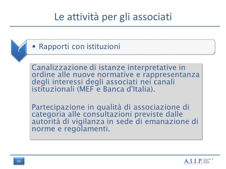 Le attività per gli associati I Rapporti con istituzioni Canalizzazione di istanze interpretative in ordine alle nuove normative e rappresentanza degli interessi degli associati nei canali istituzionali (MEF e Banca d Italia).