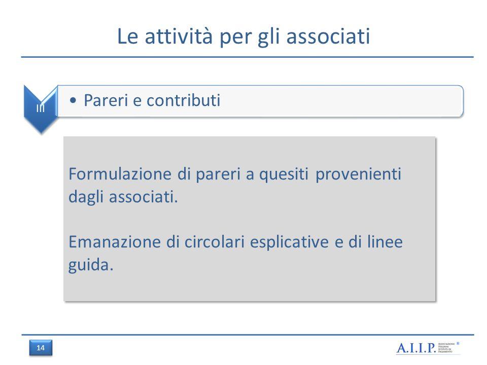 Le attività per gli associati III Pareri e contributi Formulazione di pareri a quesiti provenienti dagli associati.