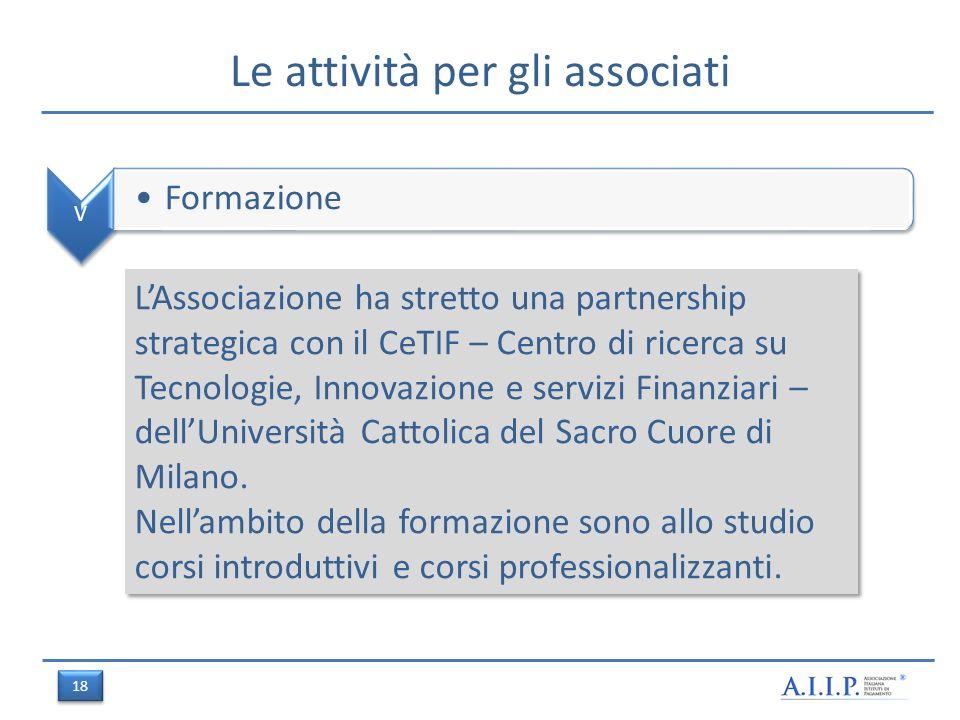 Le attività per gli associati V Formazione LAssociazione ha stretto una partnership strategica con il CeTIF – Centro di ricerca su Tecnologie, Innovazione e servizi Finanziari – dellUniversità Cattolica del Sacro Cuore di Milano.